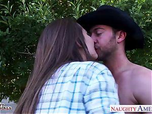 nasty cowgirl Dani Daniels humping a fat weenie