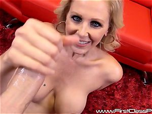 horny beaver pot mummy Julia Ann fellating on a giant bone and getting a yam-sized load to her bumpers