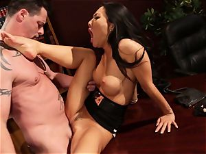 Asa Akira likes forbidden tabletop pounding