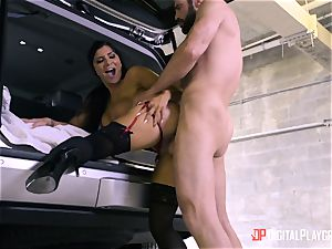 Romi Rain screwed in the back of the car