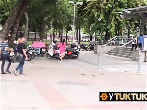asian girl is seduced in public into going back to tourists hotel for hump