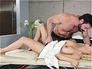 Married towheaded beauty getting naughty by a bulky massagist