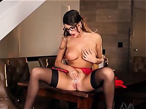 August Ames sexy getting off in glasses