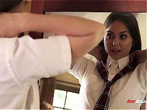 Riley in school lady garb and a yam-sized dark-hued schlong