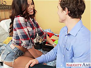 black-haired Luna star takes his fuckpole in her smoothly-shaven coochie