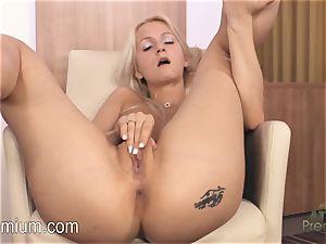 Lea Stevenson masturbating her jaw-dropping humid snatch