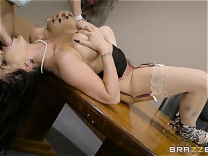 kinky dark-haired Romi Rain torn up in her cock-squeezing cunt