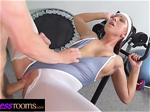 fitness rooms Morgan Rodriguez torn pantyhose