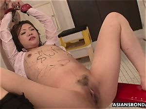 asian babe gets doused in urinate while being torn up