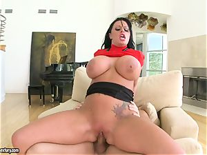 immense boobed Kerry Louise bounces her cunny on a hefty pipe