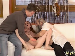 old dude pops inwards girl unexpected practice with an elderly gent