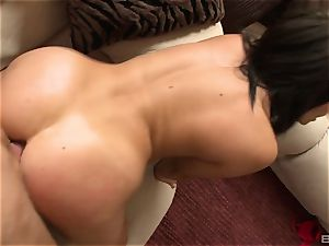 Madison Ivy slides out of her cut-offs and red hooter-sling