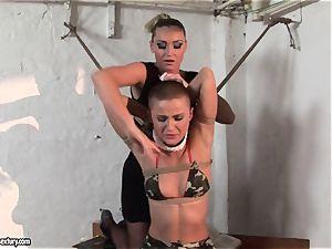 Kathia Nobili and C J stunner roping of mitts