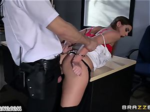 Policeman punishes super-naughty student on the table