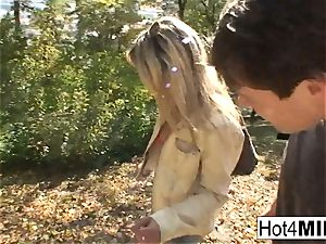 steamy blondie cougar has a threesome at the park