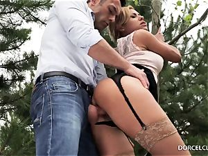 woman students witness as their professor gets booty-fucked in the forest