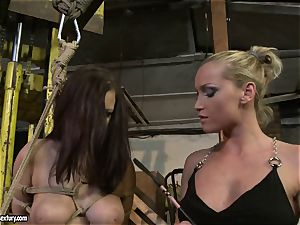 Kathia Nobili spanking the butt of super-steamy girl with lash