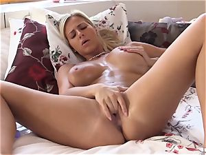 QUEST FOR orgasm - Czech platinum-blonde orgasms in steamy solo
