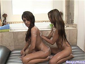 Pretty girls Kina Kai and Capri Cavanni rubbin' one another