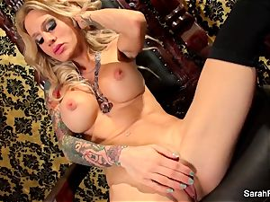 huge-titted light-haired Sarah Jessie plays with her fuckbox