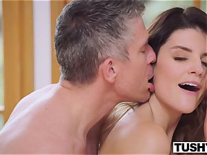 TUSHY chesty brown-haired Gets Her butt dominated By boss