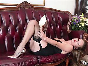 brunette bursting to jizz in antique harness nylons jerk