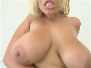 Bridgette B spooned in her obese rump