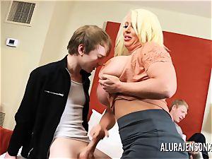cheating three way with enormous melon pornographic star Alura Jenson