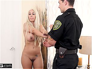 light-haired milf lets a police officer in her cock-squeezing fuckbox