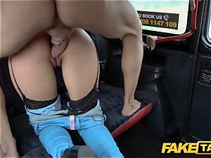 fake taxi warm Latina with enormous jugs and caboose