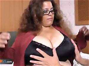 AgedLovE Latina plump grandmother pounding twunk