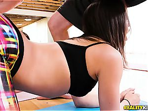 Abella and Mandy are tricked gang banging is a yoga thing