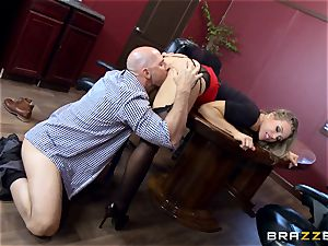 warm chief Nicole Aniston taking a ample spear in the office