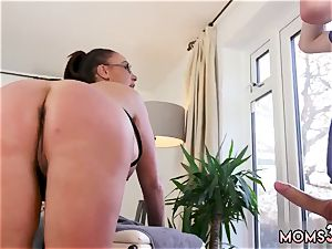 In front of family first-ever time thick melon Step-Mom Gets a rubdown
