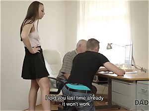 DADDY4K. dad and youthfull female steaming bang-out in sofa culminates with internal cumshot