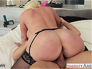 big-titted blondie wife Alura Jenson gives titfucking