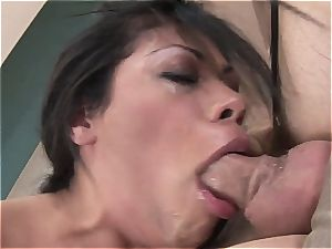 dirty damsel sucks for a mouthhole of cum