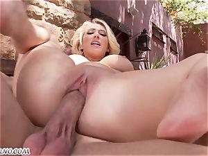 obscene big-boobed blondie Kagney Linn Karter gets boinked outdoor