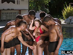 BLACKED Lena Paul very first multiracial gang-fuck