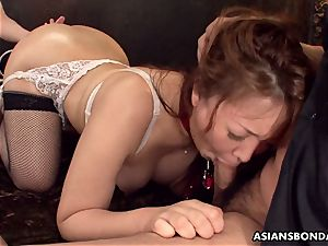 giving her culo up in a kinky domination & submission session