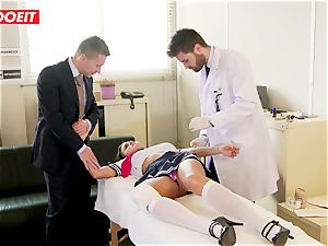 college girl gets abused hard-core by instructor and doctor